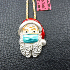 New Betsey Johnson Red Enamel Santa Claus Mask Pendant Chain Necklace/Brooch