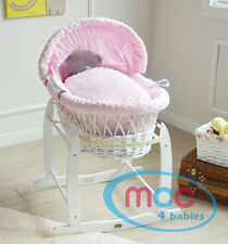 MCC Full Set Deluxe Palm Wicker Moses Basket With Dressing & Rocking Stand Pink