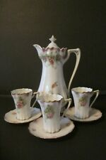 VINTAGE R.S. PRUSSIA COFFEE POT WITH 3 DEMITASSE CUPS AND 3 SAUCERS (RED MARK)