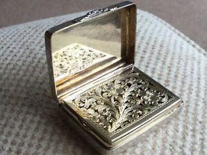 Superb Nathaniel Mills English Antique 1840 Solid Silver Vinaigrette Box