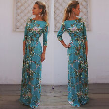 Womens Floral Print Long Sleeve Boho Dress Ladies Evening Party Maxi Dresses New