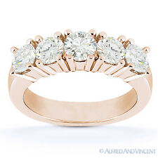 Round Cut Forever Brilliant Moissanite 14k Rose Gold 5-Stone Band Wedding Ring