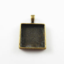 10pcs Antique Bronze Square Cameo Alloy Setting Tray Pendants Charms Ctaft 02138