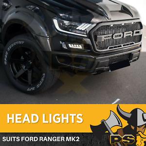 Pair LED Projector Headlights fit Ford Ranger XL XLT XLS Wildtrak T7 PX2 PX3 201