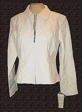 Jacket, Edge Italian Fashions, Off-White Soft Genuine-Leather zipper New NWT XL