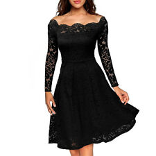 UK Womens Ladis Sexy Lace Dress Cocktail Party Evening Midi Dresses Plus Size
