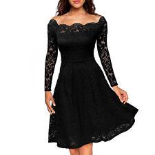 UK Womens Ladis Lace Dress Cocktail Party Evening Midi Dresses Plus Size Black 14
