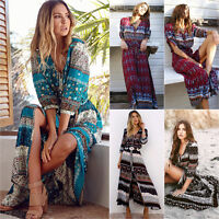 US Women Floral Boho Long Maxi Dress Summer Holiday Beach Cocktail Party Dresses