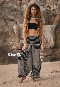 Harem Pants Black & White Stripe Hippie Print Comfy Yoga Festival Boho Gypsy