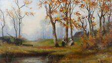 E.LAMI Huile sur panneau représentant un paysage d'automne signée en bas droite