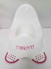 Personalised Potty White Pink Feet Training Non Slip Plastic Any Name Potties