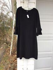 NWT Talbots Pretty Black Ruffle On Sleeves Sweater Dress 3X 22W 24W