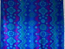 vintage 1960s Francis Price Malaga blue geometric floral print interiors fabric