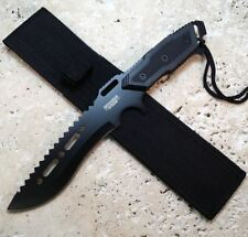 "12"" Survival Tactical Hunting Camping Black Bowie Knife w/ Nylon Sheath"