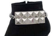 Women Boot Bracelet Silver Metal Chain Biker Bling Studs Plate Shoe Charm Rocker