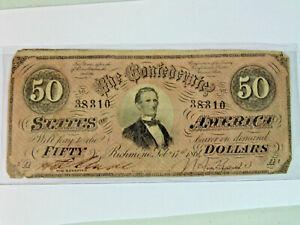 1864 C.S.A. Richmond Virginia $50.00 Note