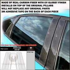 FITS INFINITI Q50 2014-19 REAL BLACK CARBON FIBER WINDOW PILLAR POSTS - 6 PCS