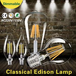 E27 E14 Dimmable Edison Filament LED Bulb Vintage Candle Light G45 A60 C35 Lamp