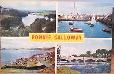 Scottish Postcard BONNIE GALLOWAY Multiview Scotland Loch Trool Luce Bay 1971