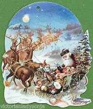 Old Fashioned Santa on Sleigh w/Reindeer Victorian Christmas Ornament