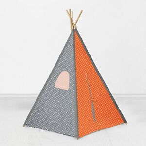 Bacati Playful Fox Orange/Grey Teepee Tent for Kids/Toddlers, 100% Cotton Breath