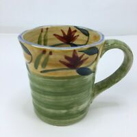 Pier 1 Imports Elizabeth Coffee Mug Tea Cup Hand Painted Stoneware Floral Green