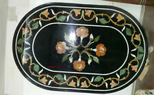 "18""x27"" Black Stone Inlaid Marble Inlay Oval Table Top Pietre Dure Table Top"