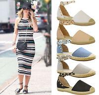 New Ladies Womens Flats Studded Espadrilles Ankle Strap Sandals Pumps Shoes Size