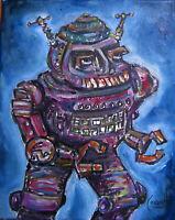 ROBOT ZERO 8x10 canvas Mech art painting retro original signed CROWELL
