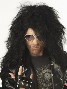 Heavy Metal Rocker Black 80s Hard Rock Men Costume Wig