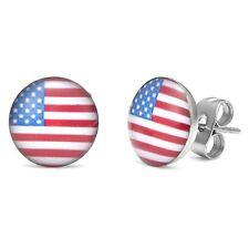 USA American Patriotic Stud Earrings Mens Womens Logo Flag Stars Stripes