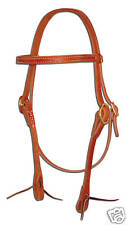 Harness leather brow band bridle headstall ties western custom cowboy USA H100