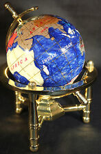 Multi-Gemstone 90mm Desktop Globe In Navy Blue Pearl on Gold Tone Base Free S&H