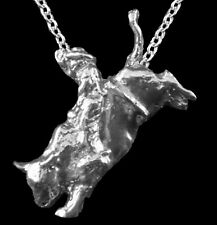 Rodeo Bucking Bull with Rider Pendant with Chain, Sterling Silver, Custom-Made!