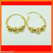 22K 24K THAI BAHT YELLOW GOLD GP Hoops Earrings  Jewelry  E_110