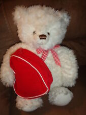 "Bear White Plush 14"" holding Red Gift Bag Hallmark 2003 From My Heart Valentine"