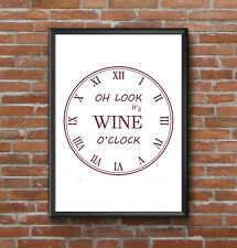 INSPIRATIONAL MOTIVATIONAL WINE CLOCK KITCHEN QUOTE  A4 POSTER PRINT WALL ART