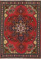 Geometric Semi-Antique Tebriz Hand-knotted Area Rug Wool Oriental Carpet 3x5 ft