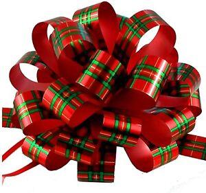 "Christmas Tartan Plaid Pull Bows - 8"" Wide, Set of 6, Gift Bows, Wreath, Decor"