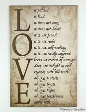 PRIMITIVE COUNTRY WOOD LOVE IS SIGN HANDMADE INSPIRATIONAL HOME WALL DECOR 1555