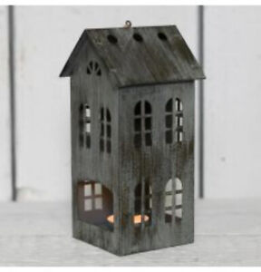 Grey Distressed Metal Tealight Holder House Lantern 16.5cm Christmas Decorations