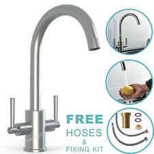 Kitchen Sink Mixer Twin Lever Tap Swivel Modern Brushed Deck Mounted Basin Tap