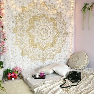 White Golden Mandala Tapestry Home Decor Print Wall-Hanging Queen Size Bedspread