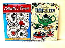 TEA TIME for CORNER *Collector's, Adult Coloring Books Set-2  32 PG  Gift!