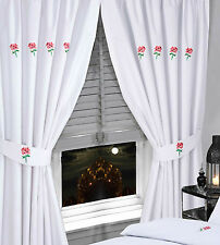"""BLUSH WHITE PINK EMBROIDERED 66"""" x 72"""" READY MADE PENCIL PLEAT CURTAINS ELEGANT"""