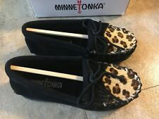 Girl's Minnetonka Leopard Kilty Genuine Calf Hair Moccasin Shoes Size 12