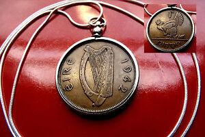 "1942 IRISH GAELIC Harp Luck Coin Pendant on 18"" 925 Sterling Silver Round Chain"
