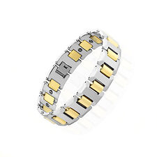 """Mens Tungsten Carbide Bracelet with Heavy Width H Gold IP Links Length: 7.78"""""""