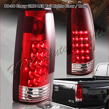 For 1988-1999 GMC C/K C10 1500 2500 3500 LED Chrome Housing Red Lens Tail Lights