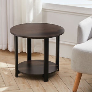 Modern 2-Tier Round Side Table Small Corner Coffee End Table with Storage Shelf